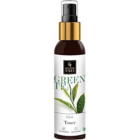 Good Vibes Green Tea Glow Toner 120 ml, Hydrating Purifying Anti Acne Moisturizing Revitalizing Facial Spray Toner for All Skin Types, Natural, No Alcohol, Parabens & Sulphates, No Animal Testing