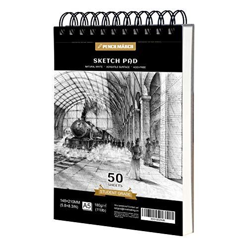 PENCILMARCH Bloc de Dibujo en Espiral - A5 180 GSM 50 Hojas. Cuaderno de dibujo para artistas. Ideal para estudios, escuelas o casa.