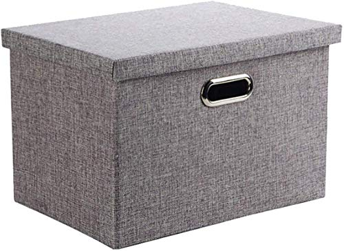 Xicaimen Caja de Almacenamiento con Tapa Contenedores de Canasta de Almacenamiento de Ropa de Tela de Lino Plegables Gris 38 litros - Grande