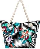 styleBREAKER Damen XXL Strandtasche mit Streifen Blumen Blüten Print und Reißverschluss,...