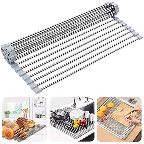 Booreina - Estante para secar platos, escurridor de platos para fregadero de cocina multiusos de acero inoxidable, escurridor de platos plegable para encimera de fregadero (50,8 x...