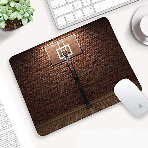 Gaming Mauspad,Basketball, Old Brick Wall und Basketball Hoop Rim Indoor-Training,Abwischbar Matte Multifunktionales Office rutschfeste Gaming Matte für Computer, PC und Professionelle Gamer320x250mm