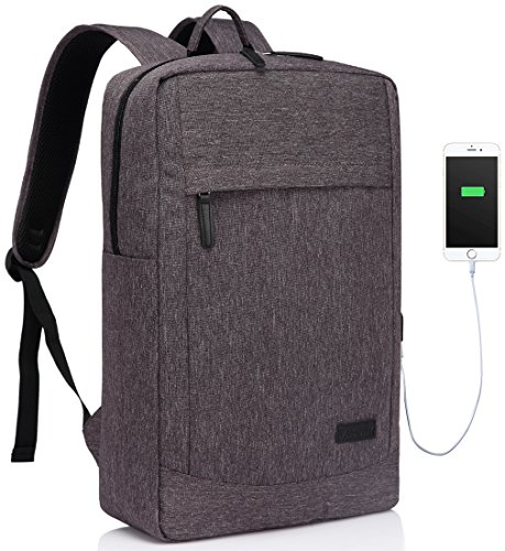 VASCHY Laptop Backpack for 17 Inch, Lightweight Slim Laptop Backpack for Business with Waterproof Backpack Rain Cover by Vaschy- Grey