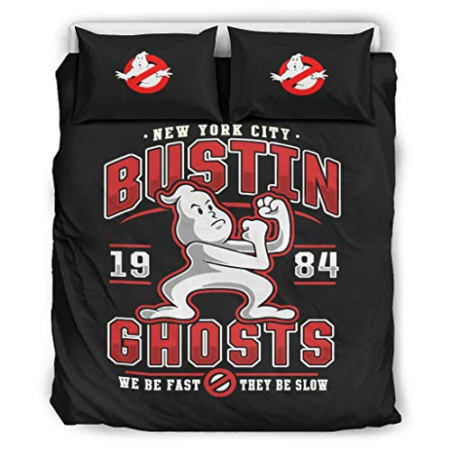 Generic Branded Ghostbusters Bustin Ghost Double Duvet Cover Set and 2 Pillow Cases Fluffy Microfibre Reversible Bed Linen Set 3 Pieces for Teenagers White 168 x 229 cm