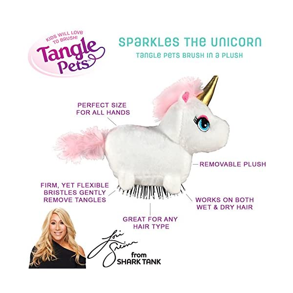 Tangle Pets SPARKLES THE UNICORN- The Detangling Brush in a Plush, Great for Any Hair Type, Removable Plush, As Seen on Shark Tank 4