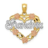 14k Two Tone Yellow Gold White Grandma Heart Pendant Charm Necklace Grma Love S/love Message Fine Jewelry For Women Gifts For Her