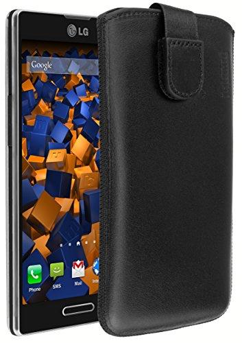 mumbi Echt Ledertasche kompatibel mit LG L9 P760 Hülle Leder Tasche Hülle Wallet, schwarz