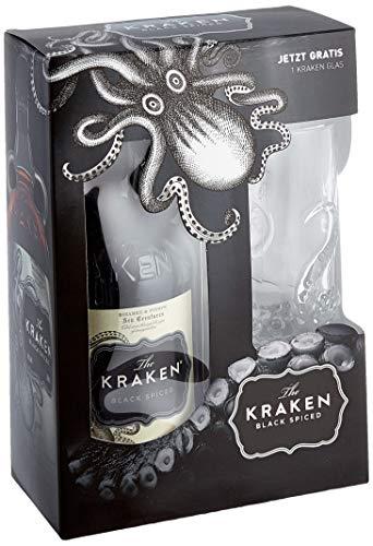 Kraken Black Spiced Rum Geschenkset mit schwarzem Cocktail Glas (1 x 0.7 l)