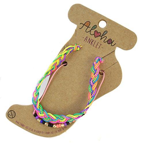 Aloha Girls Womens Multicoloured Braided Anklet Ankle Bracelet Adjustable Beach Bead Foot Jewellery