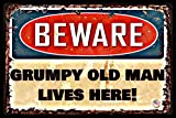 alotaloha Funny Man Cave Sign Grumpy Old Man Made in USA! 8'x12' All Weather Metal Man Cave Bar Garage Decor Humor