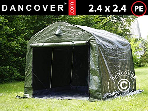 Storage tent Portable garage PRO 2.4x2.4x2 m PE, with ground cover, Green/Grey