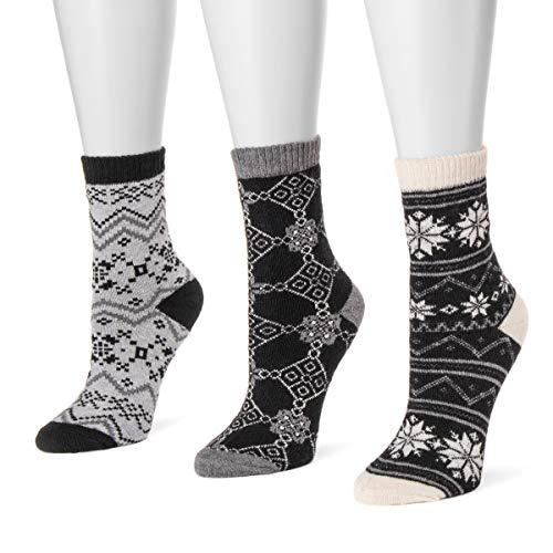 MUK LUKS Women's 3 Pair Pack Holiday Boot Socks - Black