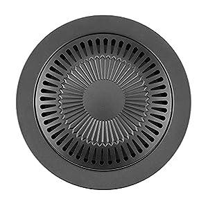 LYB Grille de barbecue d'intérieur portable de forme ronde sans fumée avec brosse anti-adhésive pour barbecue, poêle, rôtir, ustensiles de cuisine (couleur : noir)