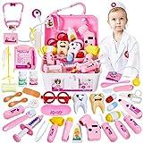 HERSITY 35 Pièces Déguisement de Docteur Kit avec Lumières et Son Medecin Jouet Jeu d'imitation Mallette de Docteur Cadeau pour Enfant 3 Ans+