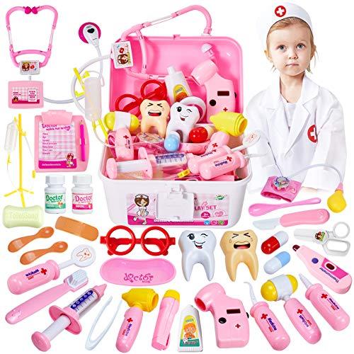 HERSITY 35 Pezzi Valigetta Dottore Bambini Kit Dottoressa Gioco Dottore Medico Giocattolo con Luci e Suono Giochi di Ruolo Regalo per Bambina 3 4 5 Anni Rosa