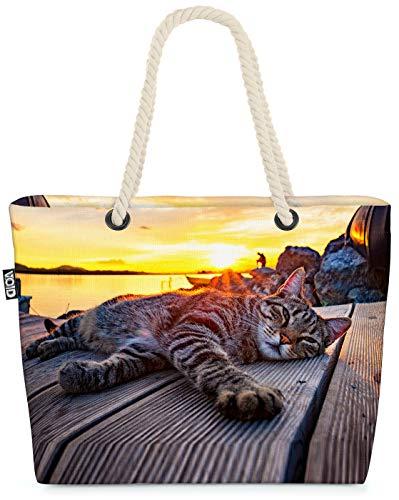 VOID Katze Sonnenuntergang Strandtasche Shopper 58x38x16cm 23L XXL Einkaufstasche Tasche Reisetasche Beach Bag