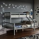 Vida Designs Milan Triple Bunk Bed, Three Sleeper, Solid Pine Wood Frame, Kids Children, Double 4 Foot 6, Single 3 Foot, Grey