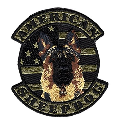 Camo American Sheepdog USA Flag Police K9 Hook Patch