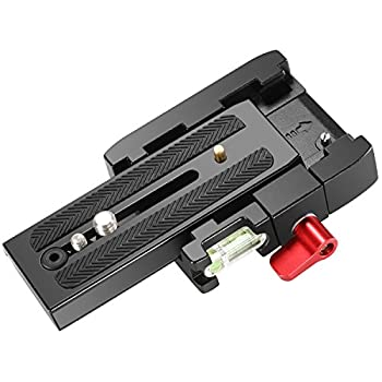 Neewer Professional Aluminum Alloy Quick Shoe Plate Adapter with 1/4 3/8 inches Screw for DSLR Camera Camcorder Tripod Monopod,Compatible with Manfrotto 501HDV 503HDV 701HDV 577/519/561/Q5  Red