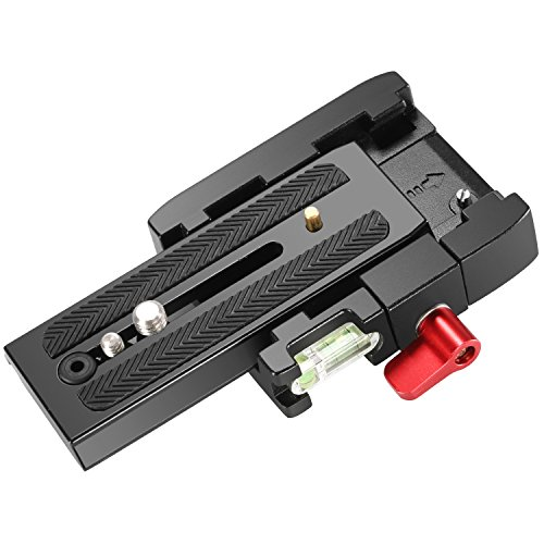 Neewer Professional Aluminum Alloy Quick Shoe Plate Adapter with 1/4 3/8 inches Screw for DSLR Camera Camcorder Tripod Monopod,Compatible with Manfrotto 501HDV 503HDV 701HDV 577/519/561/Q5 (Red)