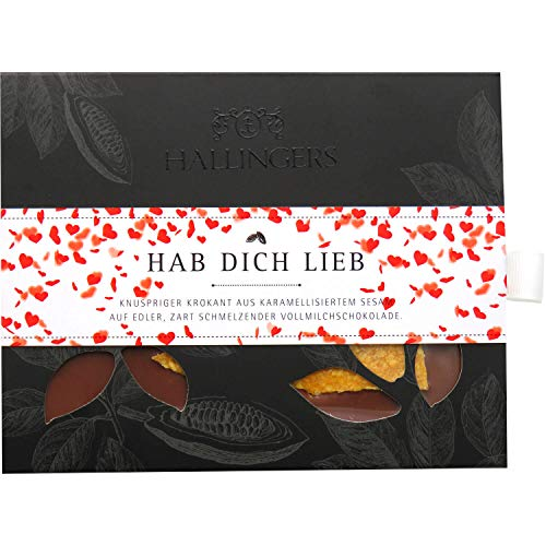 Hallingers Vollmilch-Schokolade mit Krokant hand-geschöpft (90g) - Hab Dich lieb (Tafel-Karton) - zu Liebe & Hochzeit