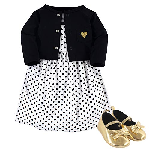 Hudson Baby Girls' Cotton Dress, Cardigan and Shoe Set, black Dot, 6-9 Months