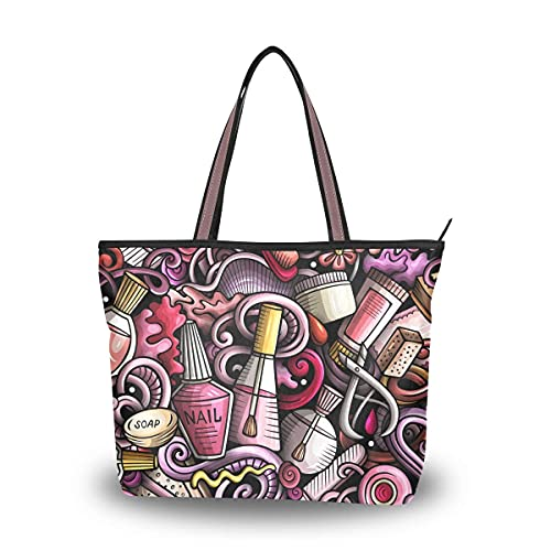 Funny Cosmetic Nail Polish Pattern Tote Bag Top Handle Satchel Handbags for Women Girls Shoulder Bags-L