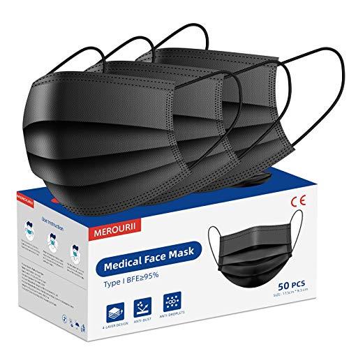 Mundschutz Masken schwarz, Medizinische Gesichtsmaske Einweg, 4-lagige Gesichtsschutzmasken, Atemmaske, Mund- und Nasenmaske mit Einstellbarer Ohrschlaufe und Nasenstreifen, 50 Stück