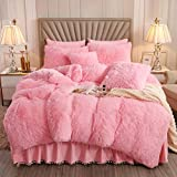 XIYU Luxury Plush Shaggy Duvet Cover Set Ultra Soft Crystal Velvet Bedding Sets 3 Pieces(1 Faux Fur Duvet Cover + 2 Faux Fur Pillowcase) (Queen, Pink)