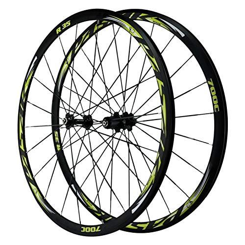 ZNND Ciclismo Wheels 700c,4 Cojinetes Freno C Freno V Volante De 7/8/9/10/11/12 Velocidades Liberación Rápida Carretera Bicicleta Rueda (Color : Green, Size : 700C)