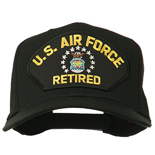 e4Hats.com US Air Force Retired Military Patched Cap - Black OSFM