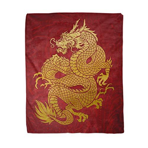 Topyee 130x150 cm gooi deken Chinese geolied draak goud op rode Japanse Oosterse Thailand Warm Gezellige Print flanel Home Decor Comfortabele deken voor bank sofa bed