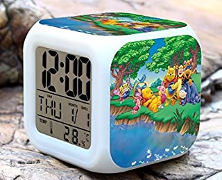 Cartoon Winnie The Pooh Digital LED 7 Changed Colorful Light Alarm Clocks Thermometer Night Electronic Kids Toys Best Gift for Children (Style 19)
