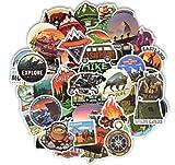 Pegatinas de paisaje para camping, aventura, escalada, viajes, impermeable, para bricolaje, maleta, portátil, casco de bicicleta, coche, 50 unidades