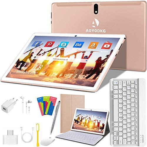 Tablette Tactile 10 Pouces Android 9.0 Pie 4G/WiFi, Tablettes Ultra-Rapides 4 Go RAM + 64 Go ROM/256 Go Évolutif | Ordinateur Portable de Convertible | Dual SIM - GPS Type-C 8000mAh 5.0+8.0MP (Or)