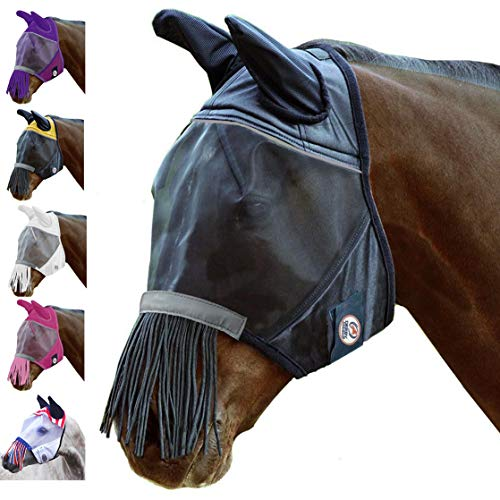 Derby Originals Reflective Fly Mask with One Year Warranty - With Ears and Nose Fringe, Black, Pony (Small)