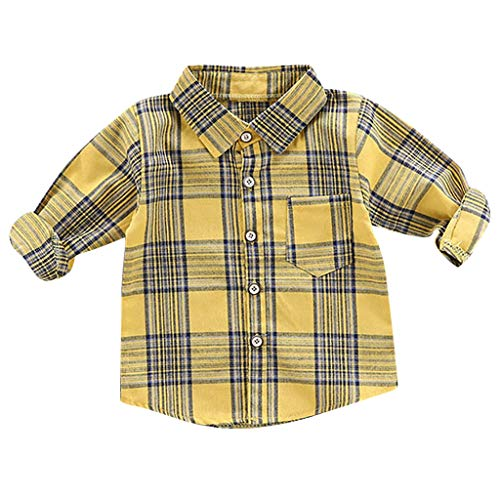 Anglewolf Baby Tshirt Jungen Kleinkind Baby Boy Langarm Gentleman Kariertes Langarmshirt T-Shirt Tops Kleidung(A Gelb,80)