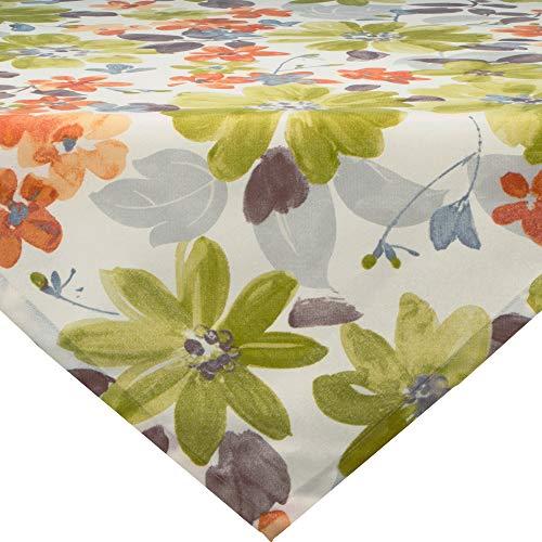 Erwin Müller Mitteldecke, Tischdecke mit Druckmotiv Blumen Blume grün Größe 110x110 cm - langlebige, robuste Qualität, mit hochwertigem Kuvertsaum (weitere Größen)