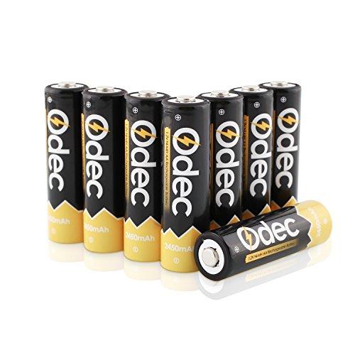 Odec AA Batteria Ricaricabile 2450mAh, 1,2V Cella Ni-MH, Confezione da 8 Pezzi, 1200 Cicli di Carica