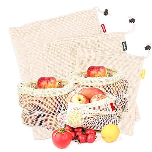 Sparta's Store Bolsas de vegetales reutilizables de algodón, bolsas de frutas y vegetales, bolsas de malla transpirables, 3 piezas (1L, 1M, 1S)