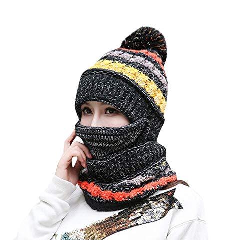 hat Sombrero Mujer Invierno más Terciopelo Ciclismo a Prueba de Viento Sombrero de otoño e Invierno Sombrero de Lana Caliente de Invierno Todo Coincidencia Sombrero de Punto (Color : Black)