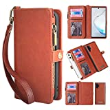 Galaxy Note 10 Wallet Case,Galaxy Note 10 Case,kelaSip Leather Wallet Phone Case & Card Holder Buckle Magnetic Detachable,Brown,for Galaxy Note 10