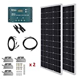 HQST 200W 12V Monocrystalline Solar Panel Kit w/ 30A PWM LCD Solar Charge Controller, 20Ft 12AWG Panel and Controller Connector...