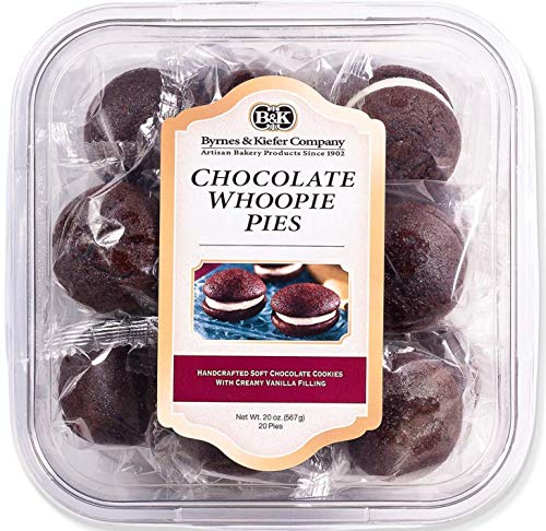 Byrnes and Kiefer Company Mini Chocolate Whoopie Pie Handcrafted Chocolate Cookies with Creamy Vanilla Filling | 20 Count | Net Weight 20 oz