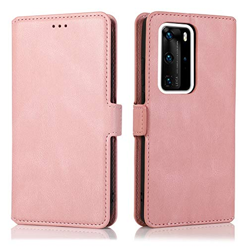 MOONCASE Huawei Mate 40 Pro Case, Flip Leather Magnetic Wallet Phone Case With Card Slot Pocket and Foldable Stand Protective Cover Case for Huawei Mate 40 Pro 6.76' -Rose Gold