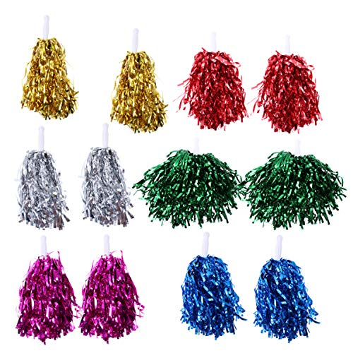 LIOOBO 12Pcs Bunten Geraden Griff Cheerleader Pom Poms Jubeln Requisiten Cheerleader Pom Poms für Wettkampfsportveranstaltungen Jubeln Leistung