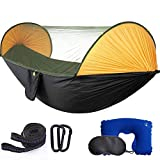 MIHUNTER Camping Hammock with Mosquito Bug Netting,Packable Hammock with Tree Straps and Carabiners,Parachute Nylon Hanging Swing Hammock for Backpacking, Survival, Travel & More(Single & Double)