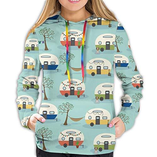 Damen Hoodies Happy Camper Camping Retro Hund 3D Pullover Kapuzen-Sweatshirt mit Tasche Gr. S, Schwarz