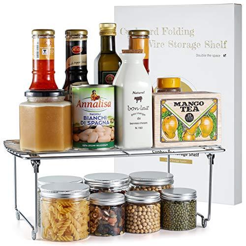 TJ.MOREE Stapelbarer Küchenschrank-Organizer, Schrank-Aufbewahrung, Gewürzregal, Speisekammer, Kühlschrank, platzsparend, 1 Stück, Chrom