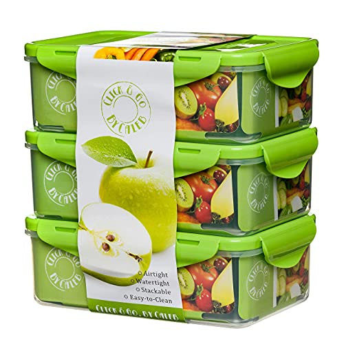 By Caleb Company 3 Pack Green Bento Boxes - 39 Ounce Divided Food Storage Containers With Lids - Leakproof, BPA Free Bento Lunch Box for Adults & Kids Lunches Is Safe For Dishwasher & Microwave